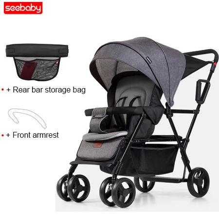 Seebaby Fold Twins Baby Stroller Double Pram Two Seat