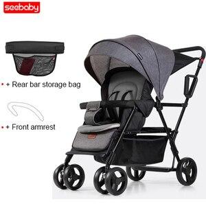Image 2 - Seebaby pli jumeaux bébé poussette Double landau deux sièges peut se tenir debout/sasseoir nouveau né bébé et enfants landau poussette