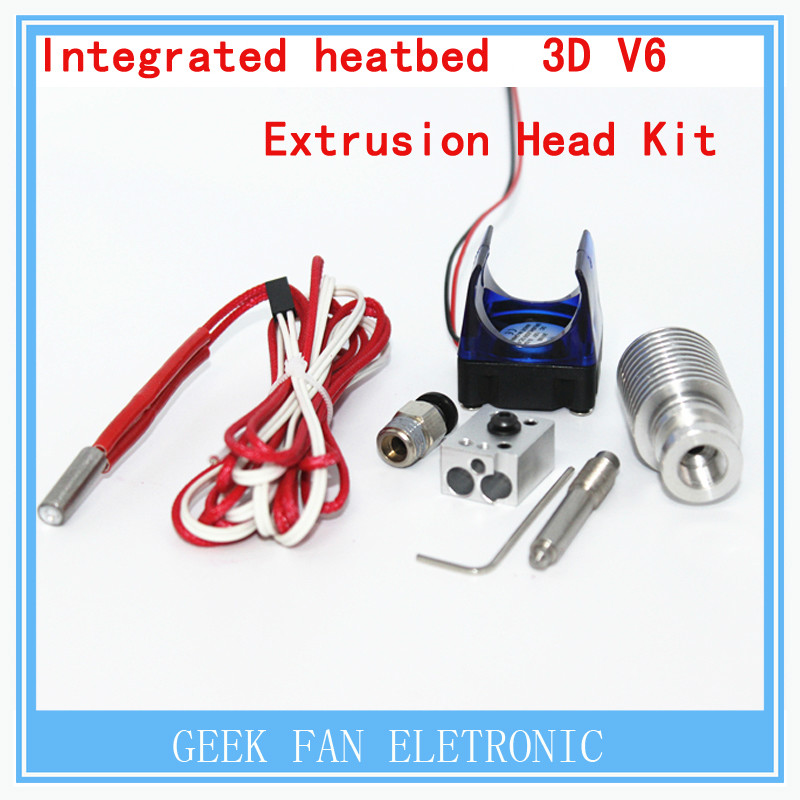 ФОТО 3d printer integrated heat bed 3D V6 extrusion head kit / remote feed nozzle and 12V fan / 12V40W heater  remote extrusion kit