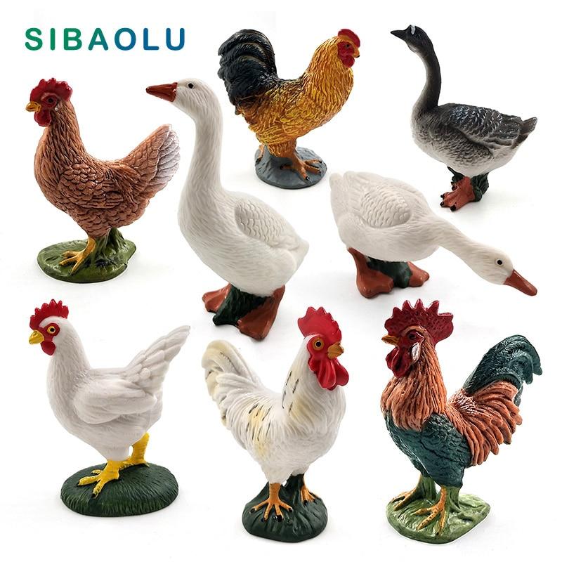 2pcs Artificial Hen Farm Animals Sculpture Figurine Home Garden Ornament Toy