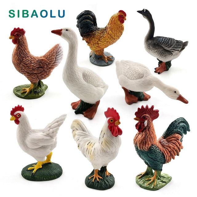 Farm animal model Artificial Chicken Duck Goose figurines Bonsai home decor miniature fairy garden decoration accessories modern 1