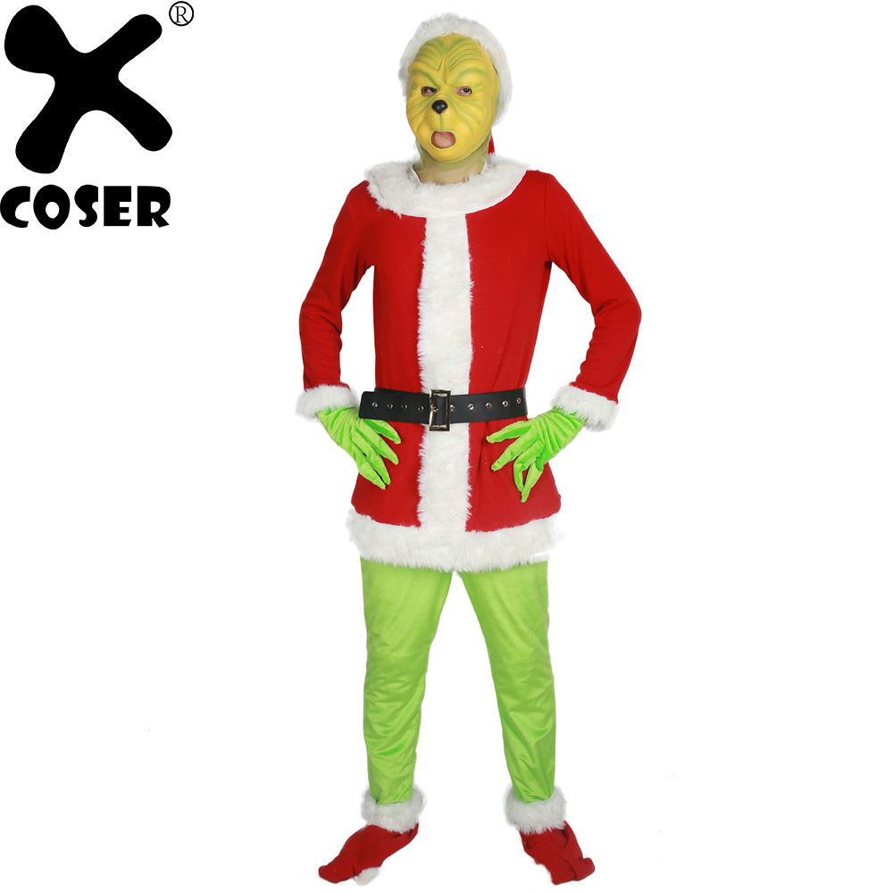 XCOSER Brand New Sale 2018 Santa Grinch Costume How the Grinch Stole Christmas Party Cosplay Suit Outfits for Men Women