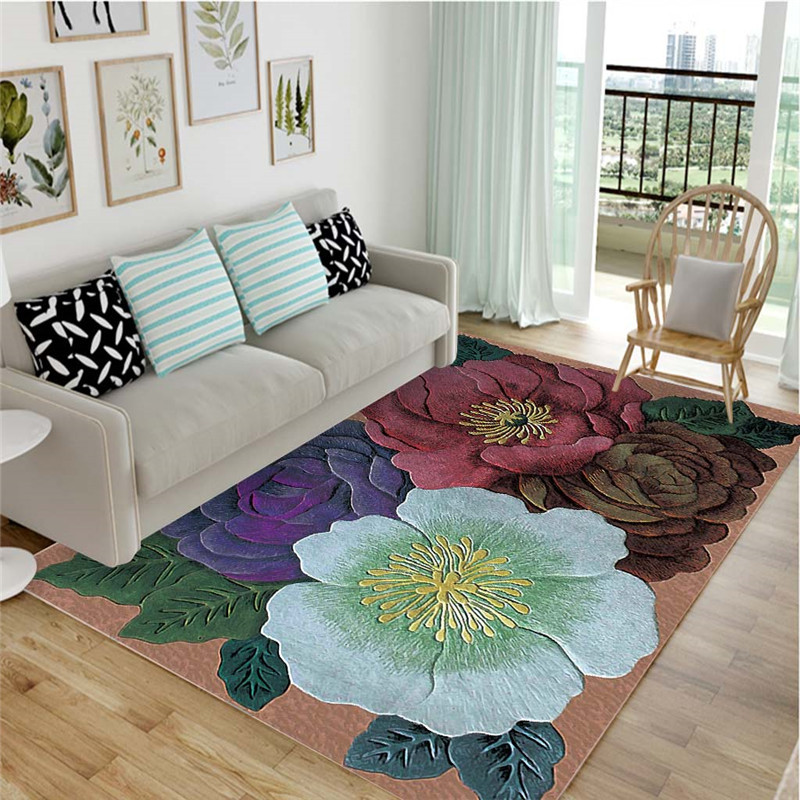 High Quality Stereo Colorful Flowers High Quality Art Carpet For A Living Room Bedroom Non-Slip Floor Mat Mode Kitchen Carpet