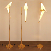2018 Modern Bird Lampshade Golden base Floor Lamp Light with LED Bulbs Metal Lambader For Living Room Stand Reading Lamp