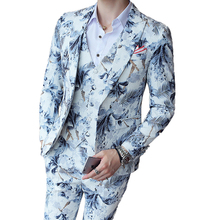 (Jacket + Vest + Pants) Boutique Fashion Printing Groom Wedding Suit Three-piece Prom Stage Party Performance Male Casual Suit