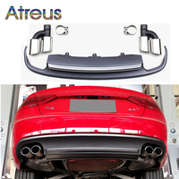 Atreus S5 Style 1Set Car Exhaust Pipe Tip With Rear Bumper Diffuser spoiler For Audi A5 Accessories 2/4 door 2012 2013 2014 2015