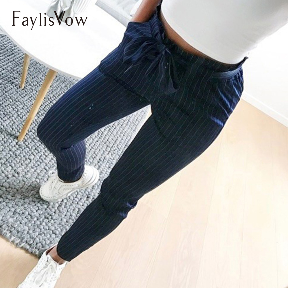 Plus Size Stripe Harem   Pants   Casual   Capri   Bow Lace Up High Waist Elastic Trousers Autumn Women Pockets Slim Stretch Pencil   Pant