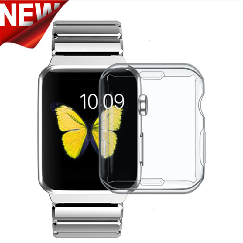 TPU Clear Slim Soft Case Cover 38/42MM Cover Screen Protector Film Accessories For Apple Watch 1 2 3 tpu clear slim soft case cover 38 42mm cover screen protector film accessories for apple watch 1 2 3