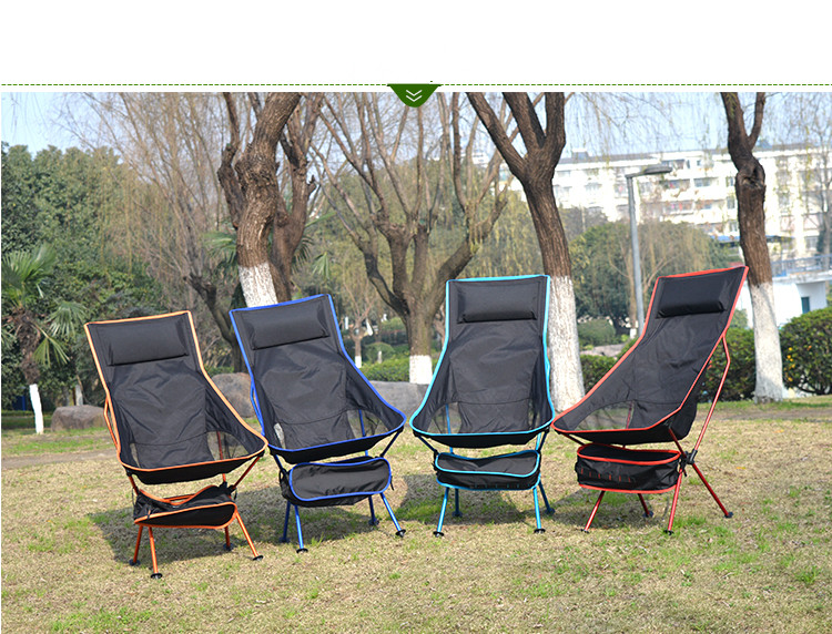 New Design Outdoor Lengthen Portable Lightweight Folding Camping Stool Chair With Comfortable Pillow