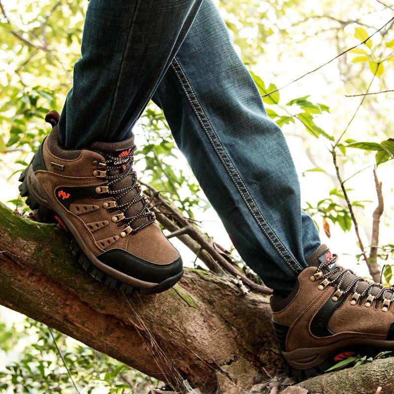 6d51da4bf9b Hiking Shoes Man Women High Top Hiking Boots Lace Up Mountain Climbing  Camping Shoes Unisex Trekking Hunting Footwear