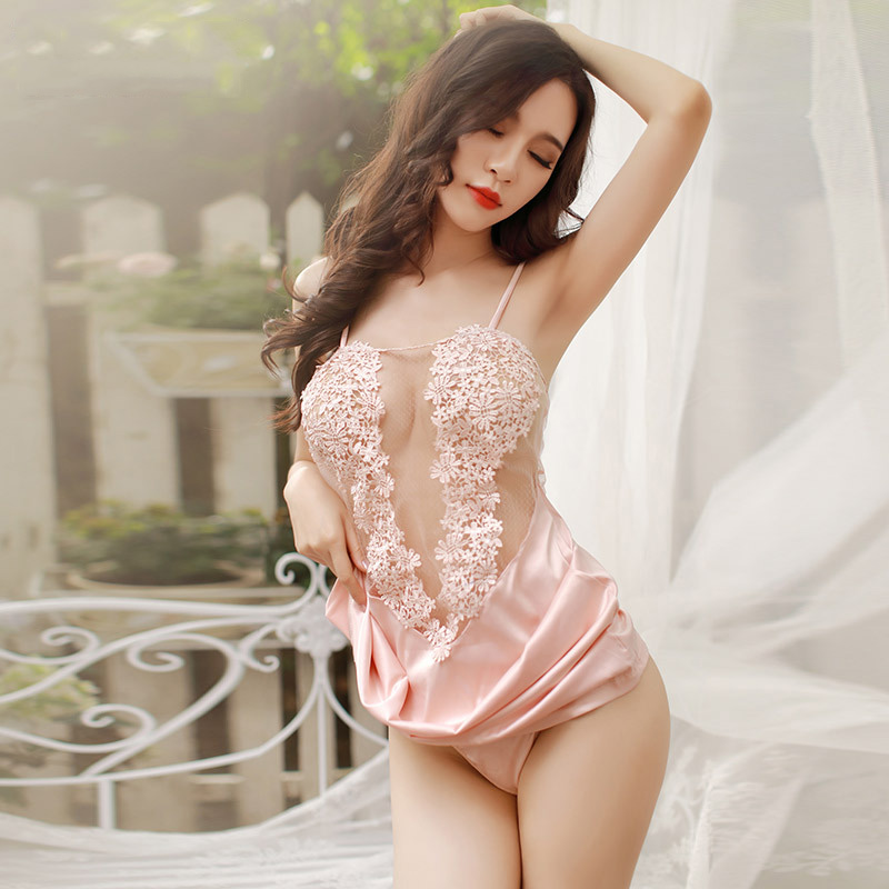 2018 Womens Sexy Nightgown Deep V Mesh Silk Suspenders Dress Chemical Lace Embroidery Nightdress Ladies Pink Sleepwear M L
