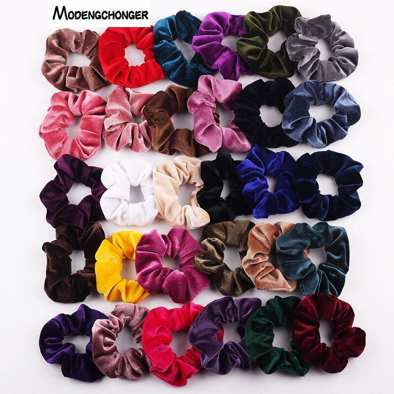 36 Colors Velvet Scrunchie For Women Girls Elastic Hair Rubber Bands Hair Accessories Gum Tie Hair Ring Rope Ponytail Holder