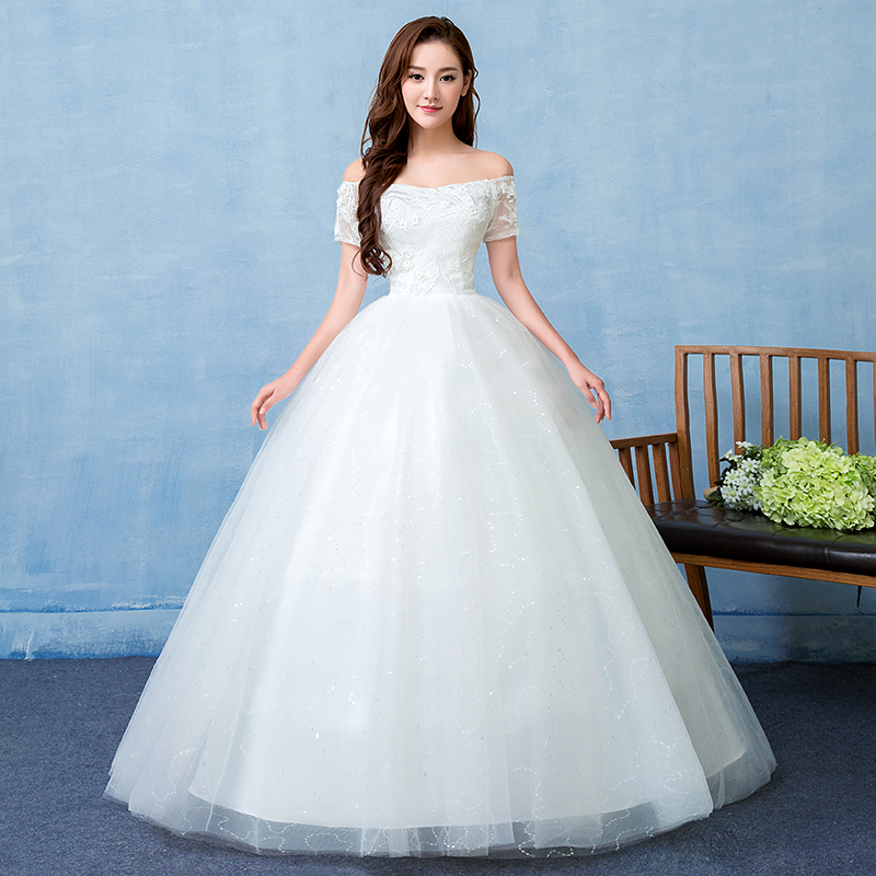 Honorable Boat Neck Off The Shoulder Floor Length Wedding Dress Organza And Tulle Bridal Gowns