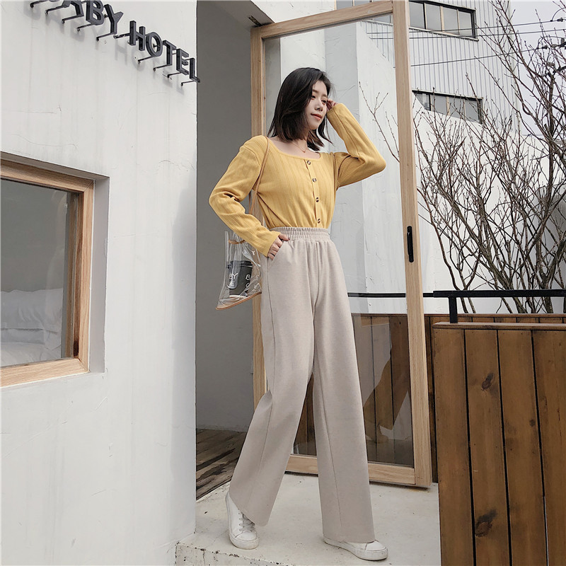 Fashion women's   wide     leg     pants   loose drape straight   pants   trousers