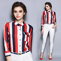Vertical elegant Striped Blouse Women Slim Fit Long Sleeve Shirt Red white black Stripes Fashion ladies casual tops blusas