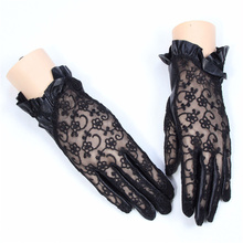 Spring Autumn New Lace Leather Gloves Womens Driving Outdoor Summer Sunscreen Thin Touch Screen Sheepskin NS111-5