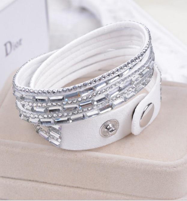 1pc Mix Colours Handmade Velvet Bracelet Bling Rhinestone Wrap Leather Bracelet Hot Drill Bangle