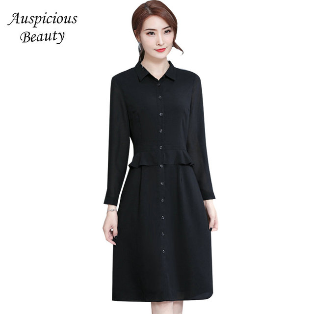 f6d8b676212 Black Women Casual Shirt Dress 2018 New Vintage Button Office Chiffon  Bodycon Dress Turn Down Collar