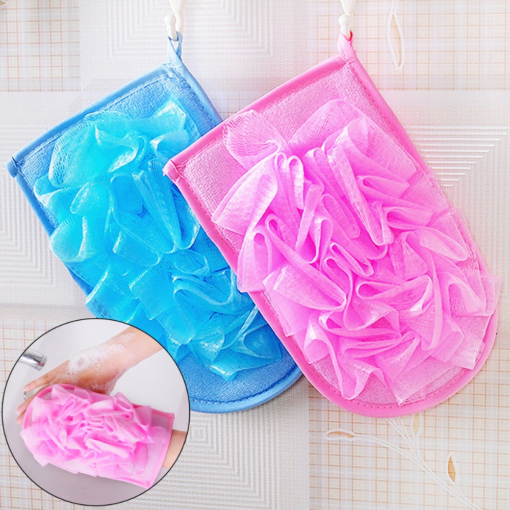 1PC 2-In-1 Bath Shower Mesh Net Scrub Exfoliating Ball & Bath Towel Double-sided Quick Convenient Easy to Wear