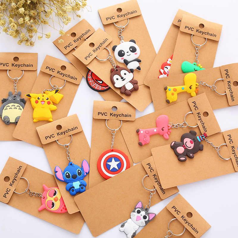 ขายส่ง 15 ชิ้น/ล็อตการ์ตูนสัตว์พวงกุญแจอะนิเมะ HERO Key แหวน Minions Stitch ยีราฟ Key เด็กจี้เครื่องประดับ