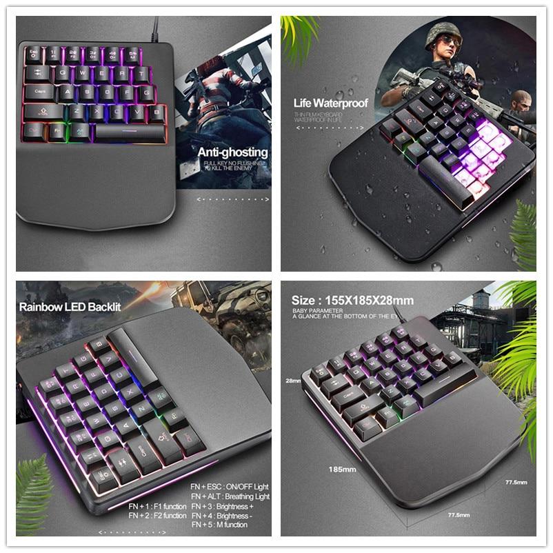 1 Pc Gaming Tastatur Einzigen Hand Tastatur Für Pc Tablet Desktopenglish Russische Aufkleber Verdrahtete 28 Tasten Led Backlit Usb Ergonomische Eine GroßE Auswahl An Farben Und Designs
