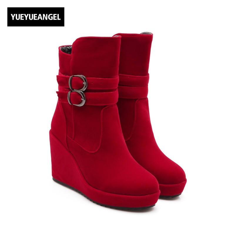 2018 New Womens Wedge High Heel Thick Platform Ankle Boots Winter Warm Footwear Buckle Zapatos Mujer Faux Suede Round Toe Botas womens high boots vogue side zipper botas invierno mujer fashion buckle block chunky heel sapatos mulher suede size us 4 10 5