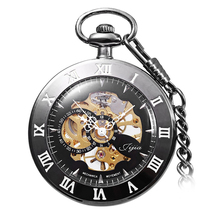 Jijia Hollow Out Mechanical Pocket Watch Chain Table (Size: One Size, Color: Black)
