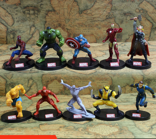10 pçs/set Super-heróis Vingadores Homem De Ferro Hulk Spiderman Wolverine Quicksilver Ben Grimm PVC Action Figure Toy KT402