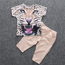 2018 fashion girls clothes for Summer girls clothing sets cotton leopard print short-sleeve T-shirt + pants kids clothes