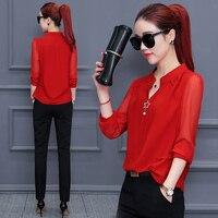 2018 spring summer women chiffon blouse shirt Korean all match beaded office lady work shirts tops