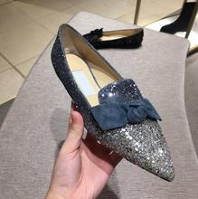 2018 spring wedding shoes sequins flash diamond flat shoes women's shoes large size shallow mouth flat with pointed bow shoes