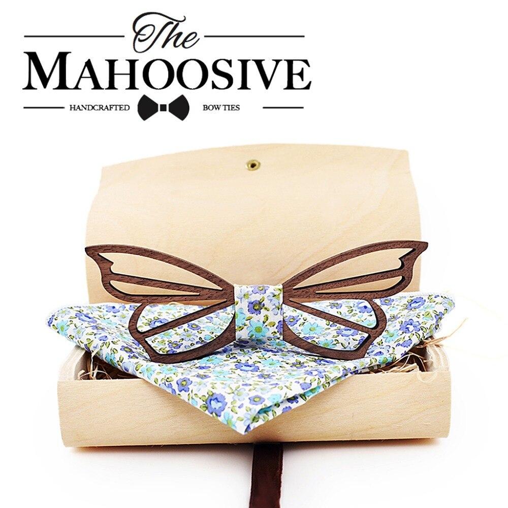 Mahoosive nova moda artesanal de madeira gravata borboleta casamento gravata laços para homens borboleta acessórios dos homens cortar laços