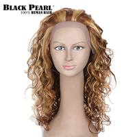 Black Pearl Long Curly Hair Brown Blonde Human Hair Wigs For Black Women 18inch Lace Front Human Hair Wigs Perruque Party