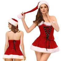 Miss Santa Claus Costume Women Christmas Strapless Dress Suit Fashion Xmas Roles Playing Costumes For Female