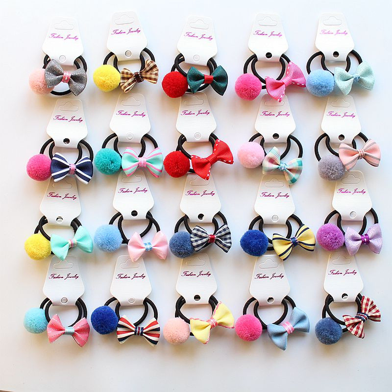 MIXIU 6pcs/set Elastic Hair Ties Bands Rope Girl Pompom Ball Bow Hairband Ponytail Holder Headwear Kids Hair Accessories