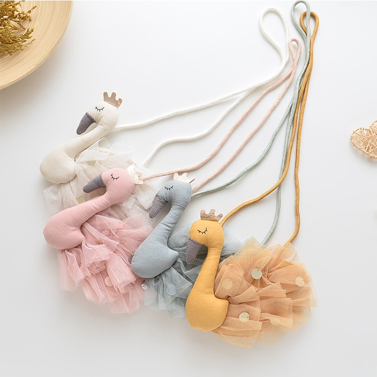 Monsisy 2020 New Children Coin Purse Handbag Wallet Girl Bag Kawaii 3D Swan Kid Shoulder Bag Lolita Baby Small Lace Bags Gift