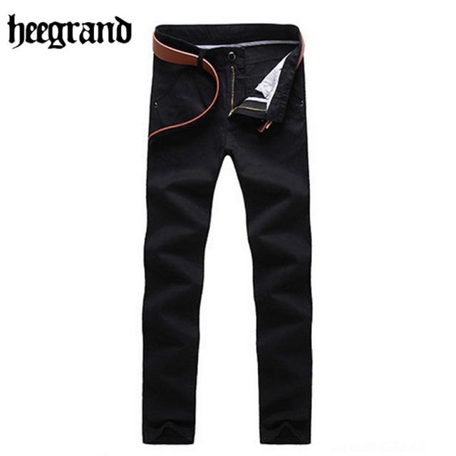 Hee grand 2017 homens em linha reta calças de algodão de comprimento total mais cor da moda homens calça casual mkx841