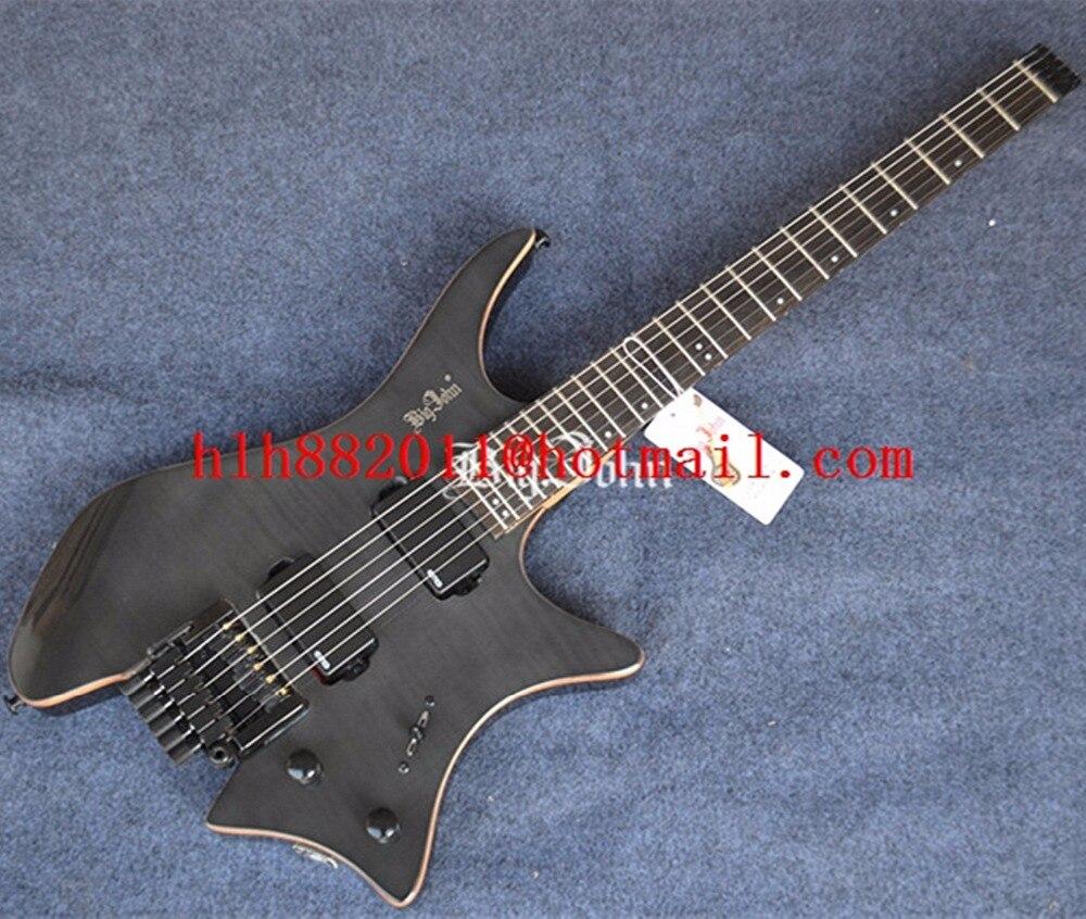 Nouveau Grand John guitare electrique headless en noir transparent avec corps en acajou + EMS livraison gratuite F-3395