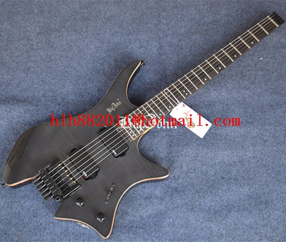 new Big John headless electric guitar in transparent black with mahogany body+EMS free shipping F-3395 big john модель 65d
