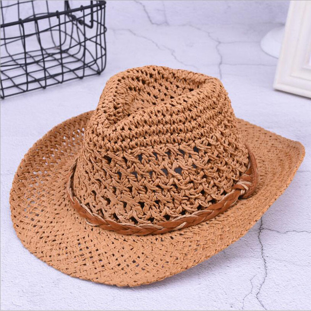 3ede00386f4f5 New Spring Summer Bohemian Style Women s Jazz CAPS Hats with Wide Birm Women  Straw Vintage Hat