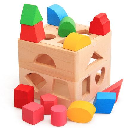 Baby Toys Shape Sorting Cube Classic Educational Wooden Toys For Children Intellectual Toy Geometry Box Birthday Gift baby toy wooden toy wooden bead maze child beads wooden toys educational toys for children birthday gift