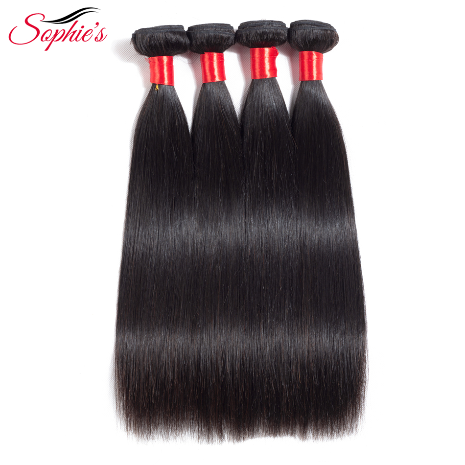 Sophies Straight 4 Bundles Hair Malaysian Human Hair Weaves Non-Remy Natural Color Hair Extensions