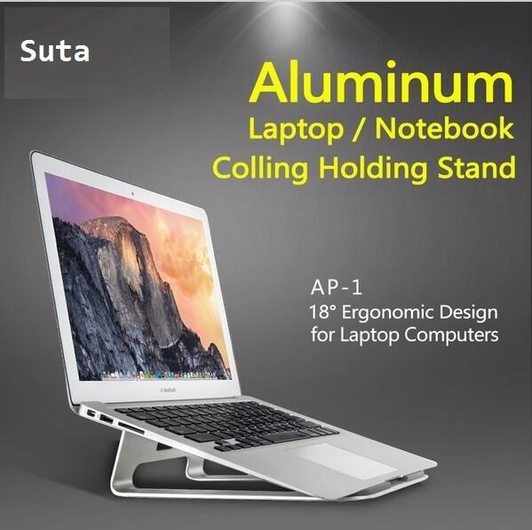 Aleación de aluminio Del Ordenador Portátil/notebook Cooling Stand Holder Para Macbook o 11-15 pulgadas Portátil Ergonómico de Visión de 18 Grados ángulo