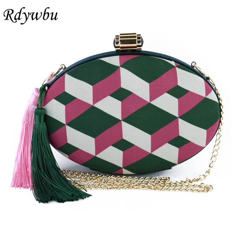 Rdywbu NEW Tassel Round Geometric Panelled Embroidered Handbag Womens Fringe Chain Bags Metal Clutches Ladies Wedding Party H148 unique new design chain decorated fringe