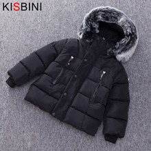 KISBINI Thick Cotton Winter Jacket For Boys Girls Padded Coat For Baby Warm Fur Hooded Zipper Parka Outerwear Children Clothes 2018 baby girls cotton padded outerwear