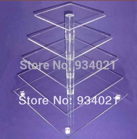 Free Shipping Good 5 Tier Square Acrylic Wedding Cake Stands Lucite Cup Cake Stand