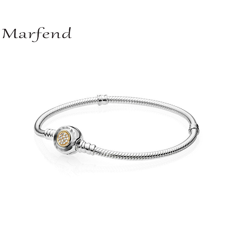 Marfend Fine Sterling Silver 925 Snake Chain 14K Gold Pave Setting Charm Bracelet & Bangle Fit Original brand Jewelry 16cm 20cm