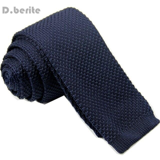 Mens Navy Blue Classical Knit Tie Slim Skinny Knitted Ties Groom
