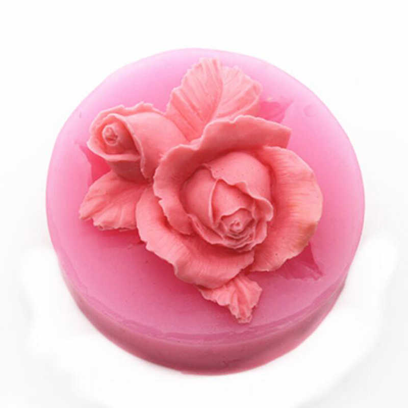 Hot Sale 3D Rose Flower Handmade Soap Silicone Molds Candle Clay Mold Fondant Cake Decorating Tools Chocolate Cake Baking Moulds