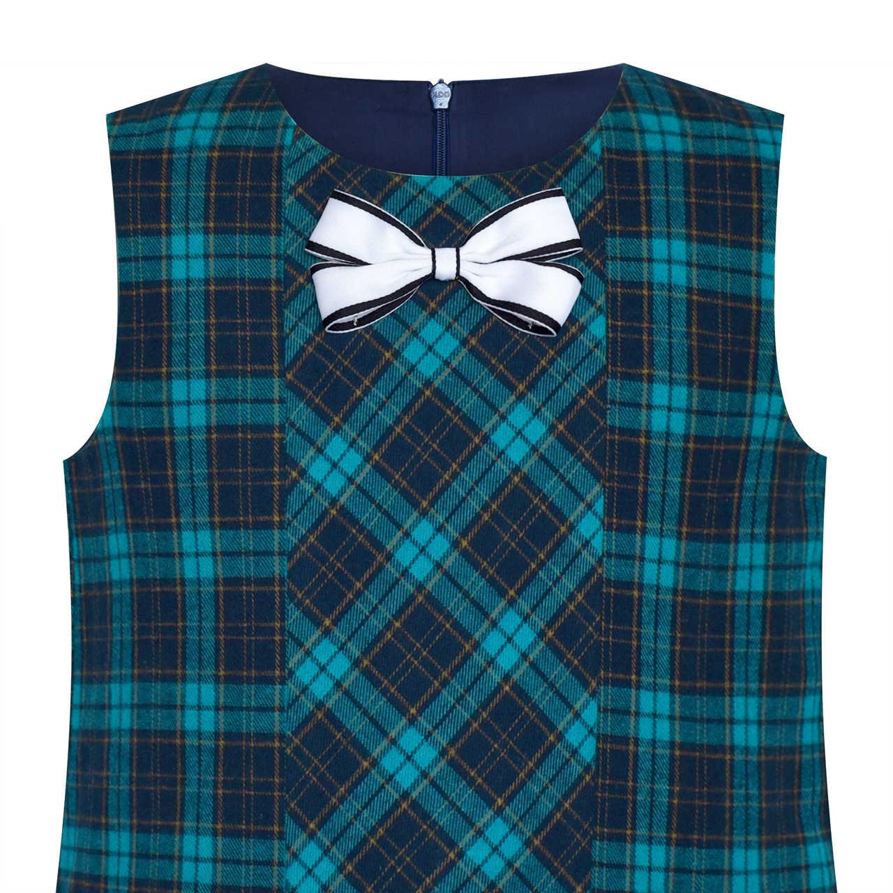 Платье для девочек клетчатое платье трапециевидной формы с галстуком-бабочкой; школьная форма из хлопка; коллекция 2019 года; летние платья принцессы для свадебной вечеринки; детская одежда; пышный Сарафан